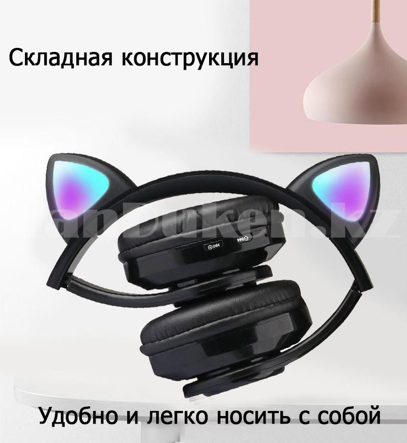 Беспроводные наушники стерео Bluetooth с микрофоном LED цветовой подсветкой и радио складные Cat Ear - фото 9