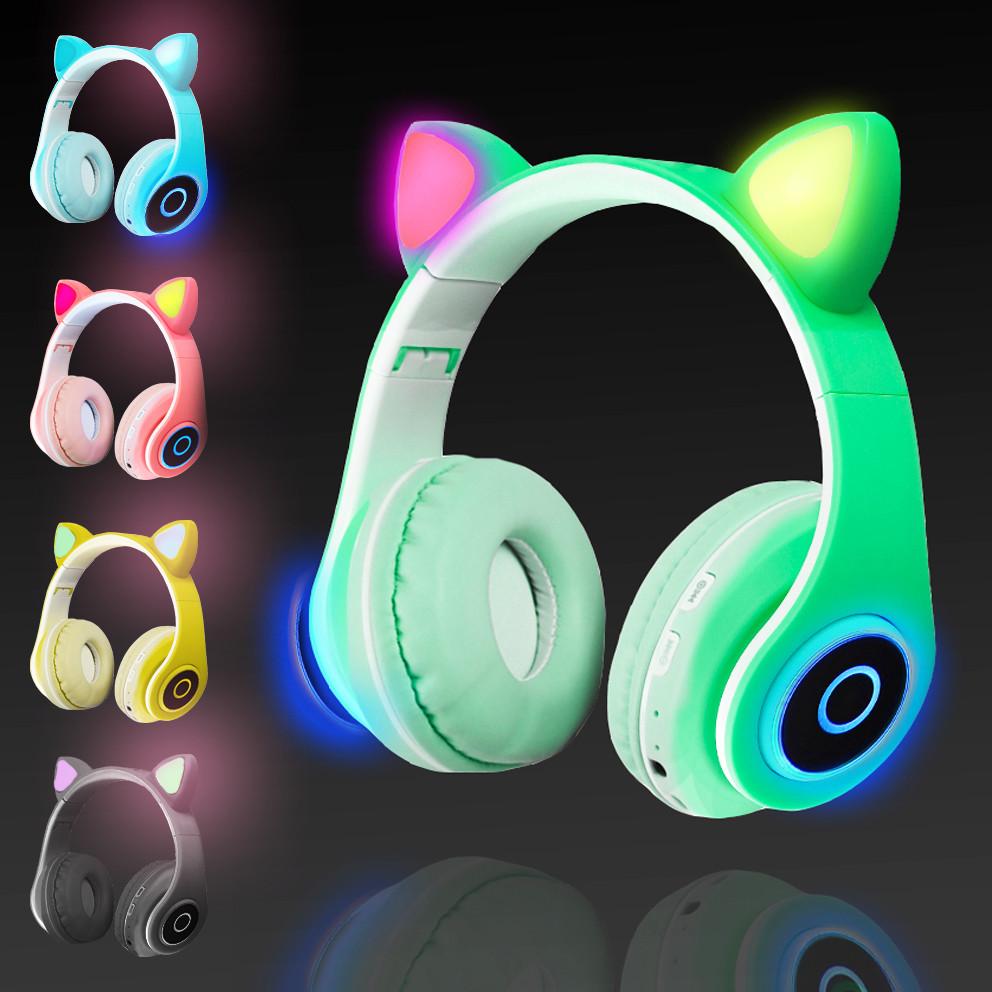 Беспроводные наушники стерео Bluetooth с микрофоном LED цветовой подсветкой и радио складные Cat Ear - фото 1