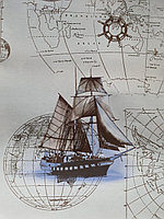 Красивая клеенка скатерть с кораблями и картой