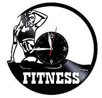 Настенные часы из пластинки Фитнес, подарок фитнес тренеру, инструктору девушке, 1552
