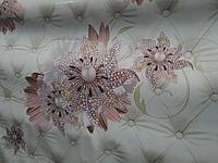 Клеенка скатерть с цветами декоративными на флизилиновой основе