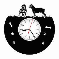 Настенные часы из пластинки собака Ротвейлер, подарок владельцам, любителям, 1565