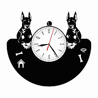 Настенные часы из пластинки собака Доберман, подарок владельцам, любителям, 1569