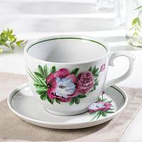 Чайная пара «Подарочная. Пион»: чашка 500 мл, блюдце d=16 см