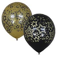 """Шар латексный 12"""" Black Gold «Голливуд», 5-сторонний, набор 10 шт., цвет чёрный и золотой"""