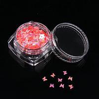 Пайетки для ногтей «Бабочки розовые», цвет МИКС