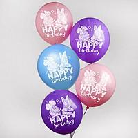 """Воздушные шары """"С Днем Рождения"""", Минни Маус, (набор 5 шт)"""