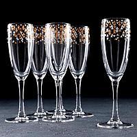 Набор бокалов для шампанского «Абстракция золото-серебро», 170 мл, 6 шт, в подарочной упаковке