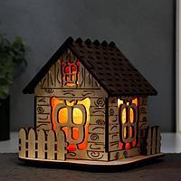 """Соляной светильник с диммером """"Домик"""" деревянный, 1х15Вт Е14, 1-1,3 кг, 16х16х16см"""