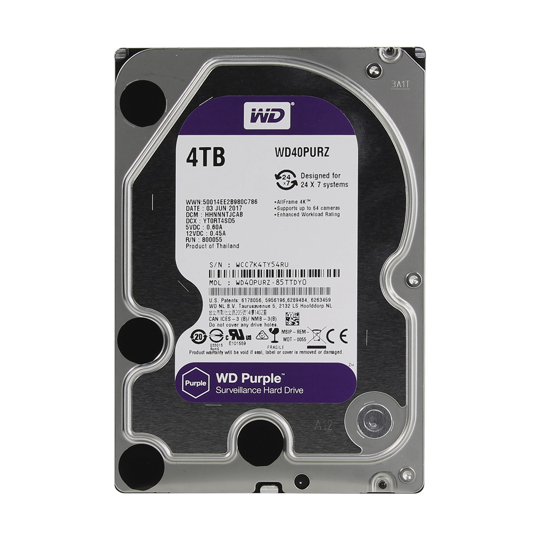 Жёсткий диск для видеонаблюдения, Western Digital, WD40PURZ Purple, HDD 4Tb, SATA 6Gb/s 64Mb 3,5