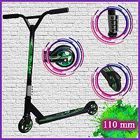 Трюковой самокат Детский 2-х колесный стальная рама гелевые колеса диаметром 110 мм зеленый 01