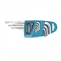 Набор ключей имбусовых HEX, 1,5-10 мм, S2, 9 шт, удлиненные с шаром, сатинированные Gross