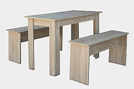 Стол + 2 скамейки 021, Дуб сонома, Мебель-Сервис