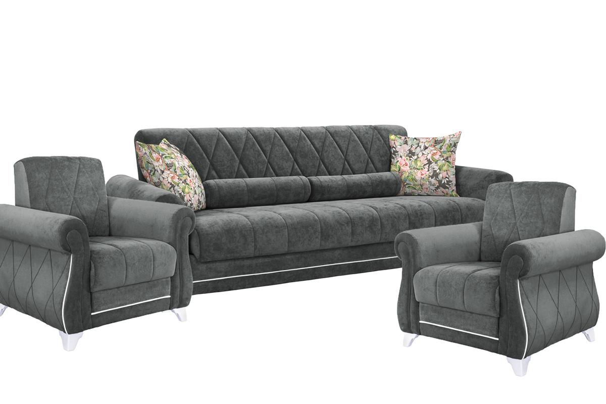 Комплект мягкой мебели Роуз, Серый, Нижегородмебель и К(Россия)