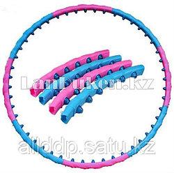 Обруч гимнастический магнитный (хула хуп) из 8 разборных частей 1.6 кг розово-голубой