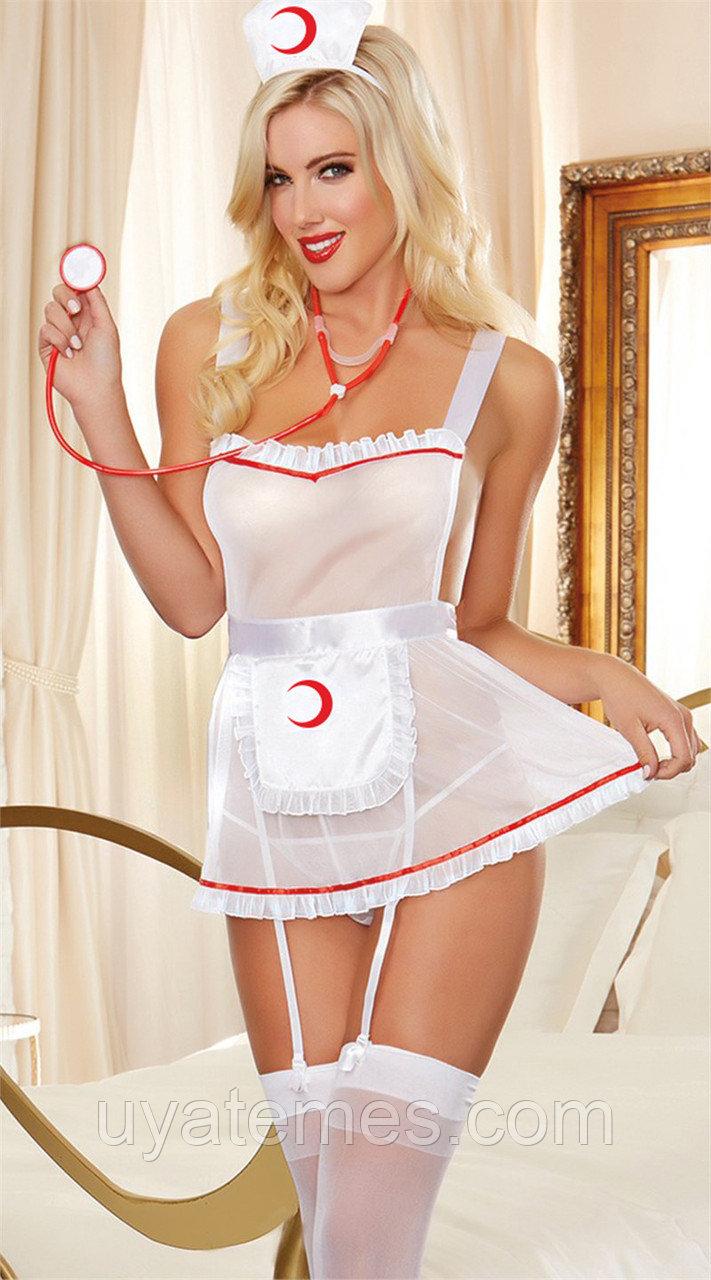 For Dreams, Костюм медсестры (Фартук, стринги, чулки, головной убор), белый L XL