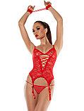 For Dreams, Комплект белья кружевной (Боди, стринги, чулки, наручники), черный и красный S M L XL, фото 4