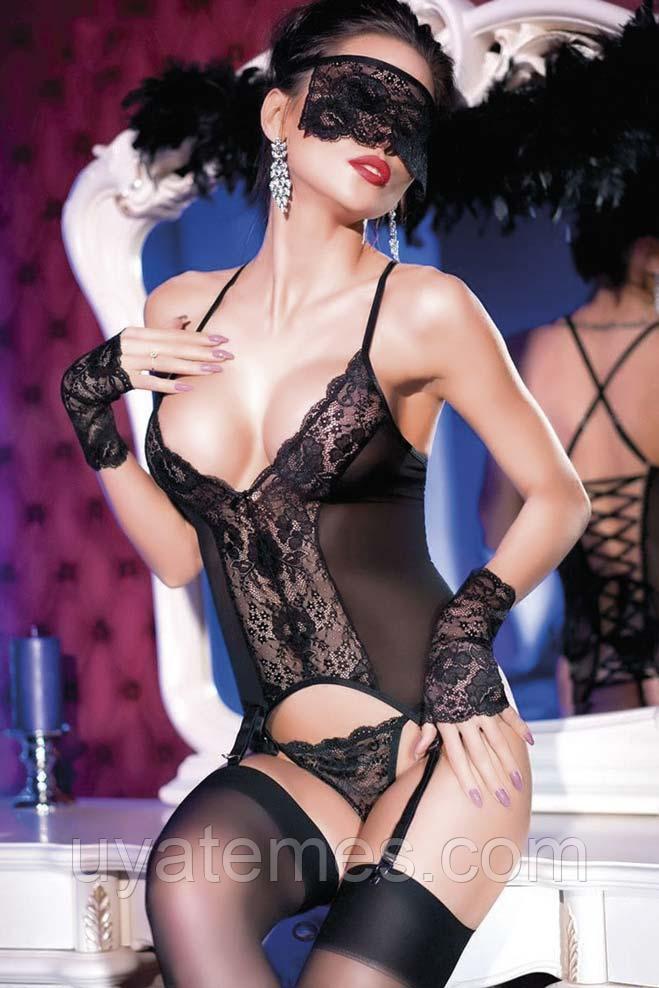 For Dreams, Комплект белья кружевной (Боди, стринги, чулки, перчатки, маска), черный S M L XL