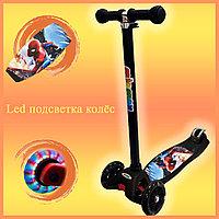 Самокат Детский 4-х колесный от 2 до 9 лет гелевые колеса с LED-подсветкой Человек паук черный