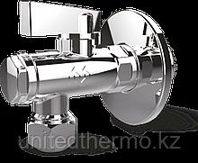 """Кран хромированный 1/2""""x3/8""""-10 Н/Н угловой шаровый с фильтром для подключения смесителя Varmega, (с цангой)"""