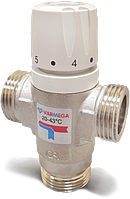 """Термостатический 3x1"""" нар. -Kv 1,6-20º~43ºC смесительный клапан Varmega, теплый пол"""