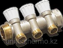 """Коллектор 3/4"""" ВР-НР с четырьмя отводами 1/2"""" НР с регулирующими вентилями для водоснабжения RBM"""