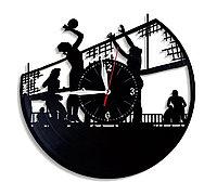 Настенные часы из пластинки Волейбол, подарок волейболисту, тренеру, фанату, любителю, 1594