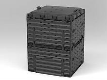 Ящик для компоста (компостер садовый) 300л Piteco с крышкой K1130 чёрный