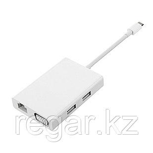 Универсальный расширитель Type-C Xiaomi 2 VGA Hub Gigabit Ethernet Multi Adapter Белый
