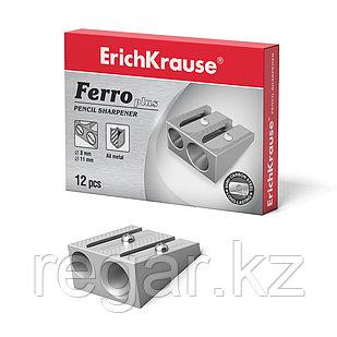 Металлическая точилка ErichKrause® Ferro Plus, два отверстия, серебряный (в кор. по 12 шт.)