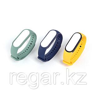 Сменные браслеты для Xiaomi Mi Smart Band 5 (Original) (3 шт) Темно-синий/ Желтый/ Мятный