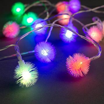 """Гирлянда """"Нить"""" 3 м с насадками """"Ёжики"""", IP20, прозрачная нить, 20 LED, свечение мульти, фиксинг, 3 х AA"""