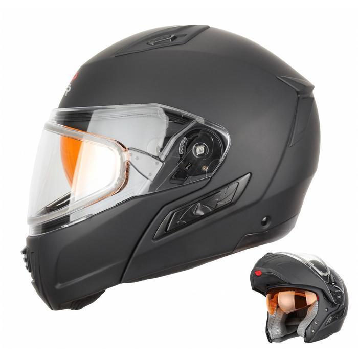 Снегоходный шлем MODE1, чёрный, матовый, с двойным стеклом, M