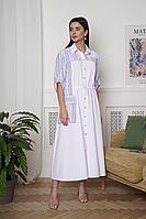 Женское летнее льняное белое платье LadisLine 1368 белый 44р.