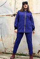 Женский осенний вязаный синий спортивный большого размера спортивный костюм Runella 1447 синий 48р.