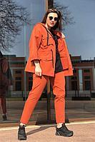 Женский осенний джинсовый оранжевый спортивный большого размера спортивный костюм Runella 1454 48р.