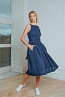 Женское летнее из вискозы синее платье LULA.BY LY2021LNBL 42р.