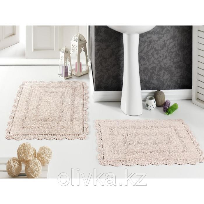 Набор ковриков Evora, размер 60х100 см-1 шт., 50х70 см-1 шт., цвет абрикосовый