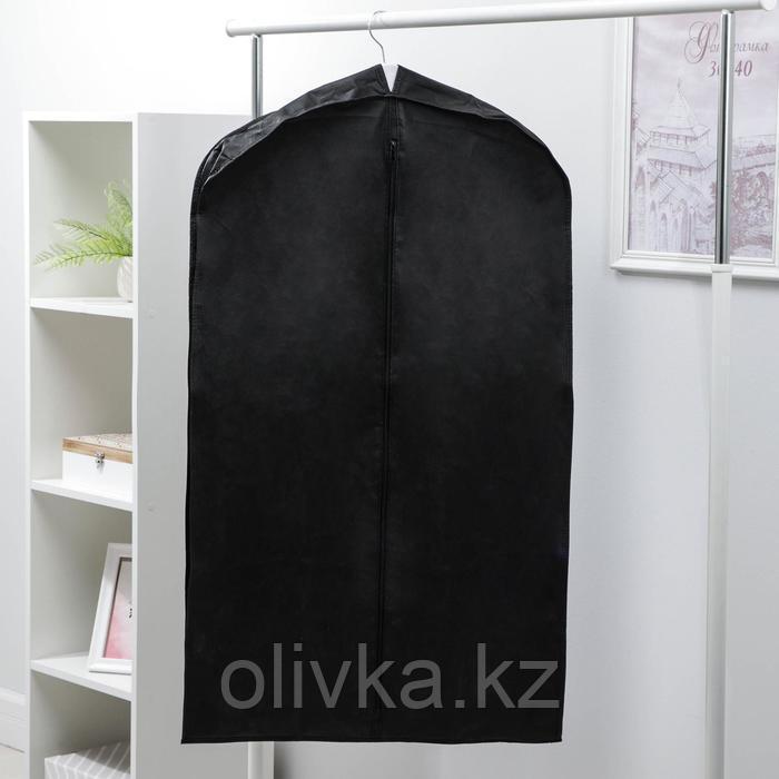 Чехол для одежды зимний 100×60×10 см, спанбонд, цвет чёрный