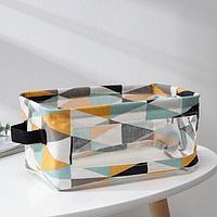 Корзина для хранения с ручками и ПВХ окном Доляна «Рио», 25×17×12,5 см, цвет бирюзовый