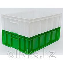 Ящик мясной под полуфабрикаты сплошной, 208Л, 60х40х17,7см, микс