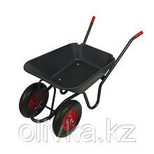 Тачка садовая, двухколёсная: груз/п 150 кг, объём 90 л, пневмоколесо, корыто из пластика, чёрная