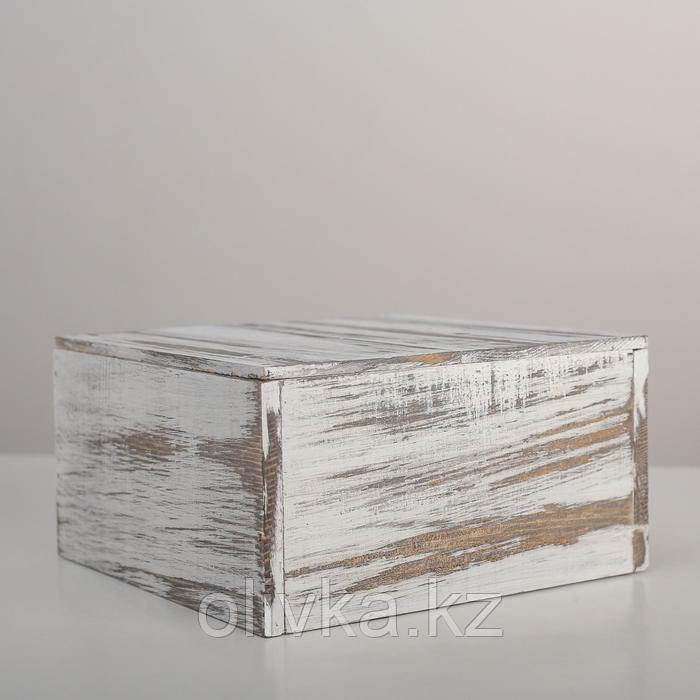 Ящик деревянный 19×19×10 см подарочный с разделителем и крышкой состаренный