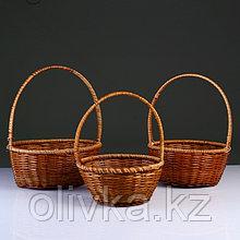 Набор корзин плетеных из 3-х D32x13/42;D27x12/35;D24x11/30 см.(лоза,кукуруза)