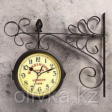 """Часы настенные двойные, серия: Садовые, """"Тактоо"""", чёрные, 24х30 см"""