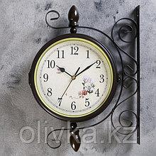 """Часы настенные двойные, серия: Садовые, """"Голубые розы"""", d=19 см"""