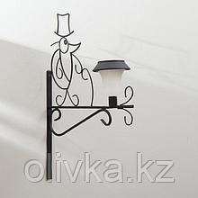 Кронштейн для кашпо, кованый, с фонарём, 50 см, металл, чёрный, «Ёжик»