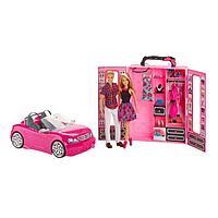 Игровой набор Барби и Кен с гардеробом и розовой машиной кабриолет