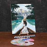 Картина по номерам на холсте с подрамником «Девушка в лодке» 40х50 см