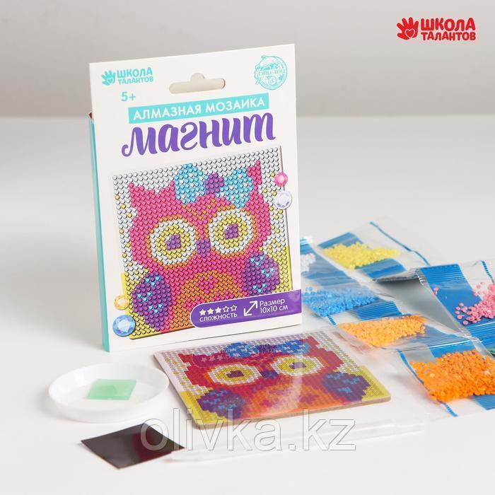Набор для творчества. Алмазная мозаика магнит для детей «Совушка», 10 х 10 см + ёмкость, стержень, клеевая